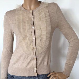 J Crew Beige Tulle Cardigan Cotton Sweater S NWOT